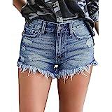 Uni-Wert Pantalones Cortos Mujer Jeans Vaqueros Básicos Rotos Cintura Alta Verano Denim Hot Pants con Bolsillos Jeans Shorts