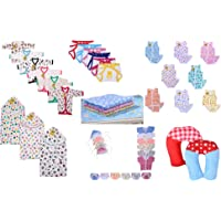 Fareto Combo Of Baby Essentials For 0 to 3 months - Multi Color