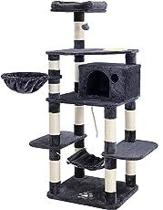 SONGMICS Stabiler Kratzbaum mit Katzennapf, Sisal umwickelte Kratzstellen, Korb und Höhle, Kletterbaum für Katzen 174 cm Groß