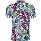 IDGREATIM Men's Hawaiian Shirt Tropical Short Sleeve Floral Print Beach Aloha Casual Shirt Button Down Graphic Shirts