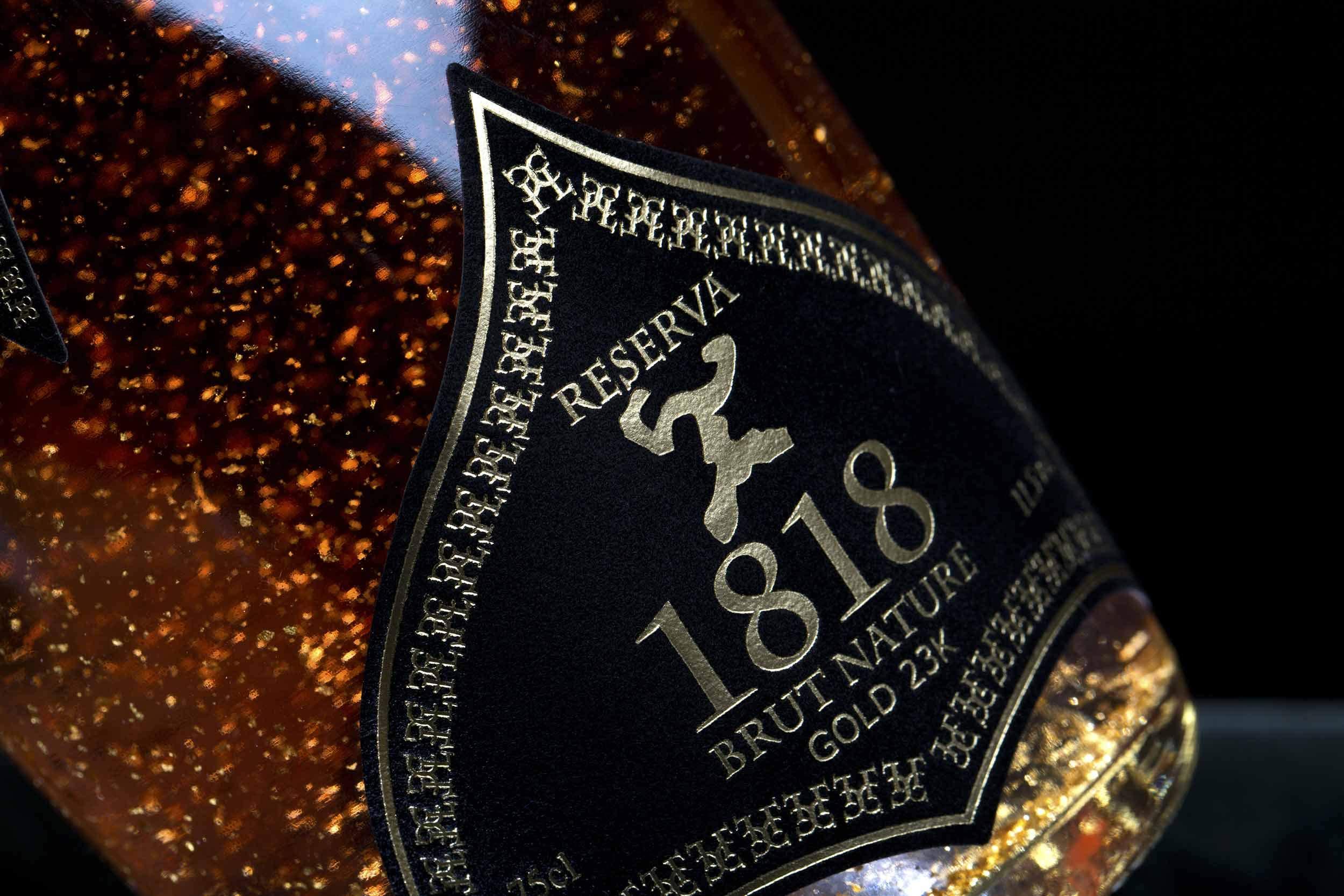 Champagner-Rose-Geschenk-1818-Special-Gold-Cuve-Exklusiv-Brut-Nature-23-Karat-Blattgold-Original-Frau-Luxus-Geschenkideen-Traditionellen-Champenoise-Methode-Ohne-Geschenkverpackung