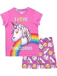 Emoji Pijamas de Manga Corta para niñas Unicornio