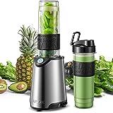 AICOK Frullatore portatile 2 in 1 per frutta e verdura, inclusa una bottiglia Tritan BPA FREE da 600mL, 4 Lama e Corpo in Acc