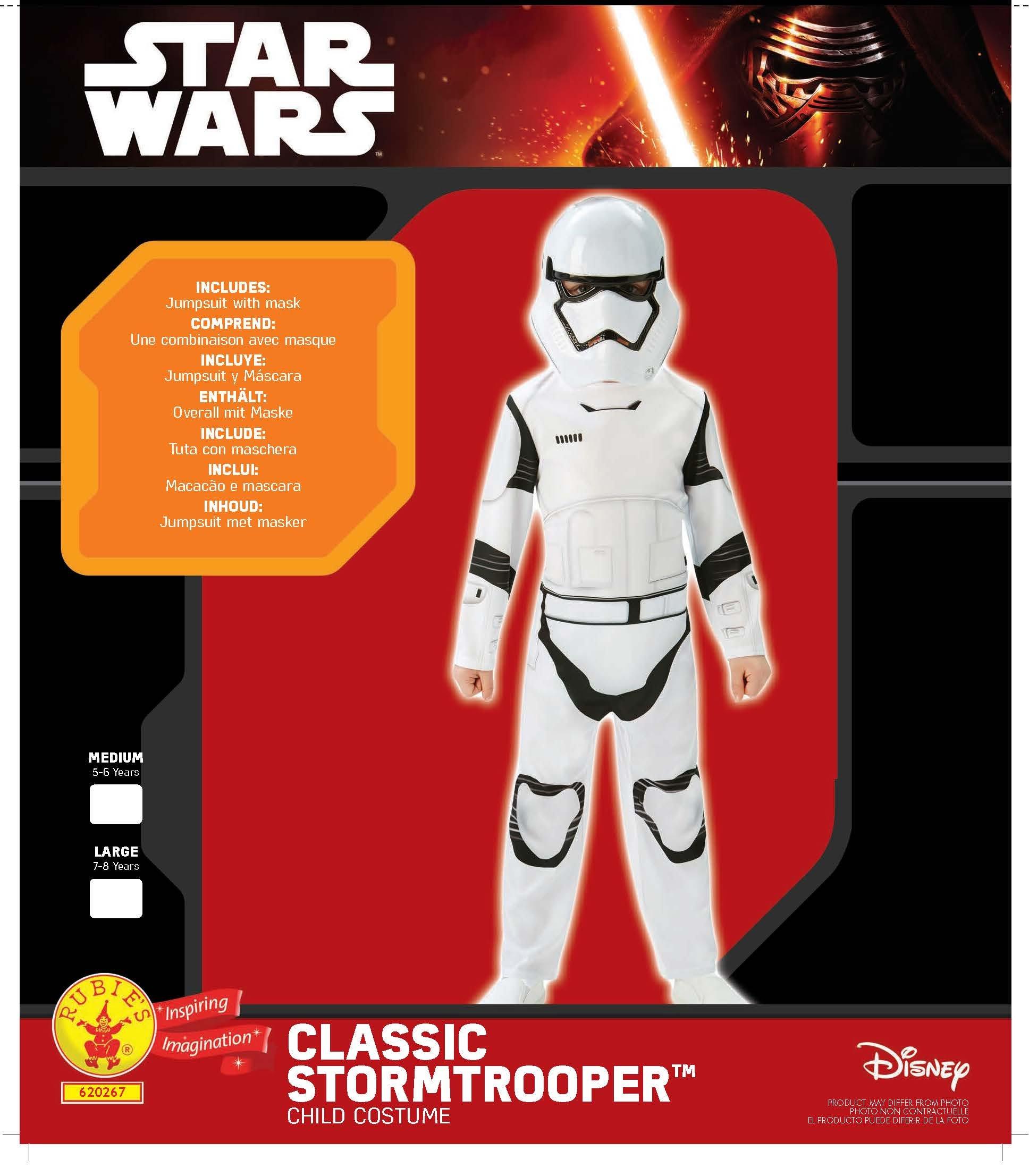 Mezza Maschera Tuta Star Wars Stormtrooper 2 Pezzi per Bambini Bianco Nero 2 spesavip