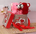 TIED RIBBONS Best Gifts Pack for Boyfriend, Girlfriend, Wife, Husband Combo(Gift Box with Ribbon, 2 Small Teddy)