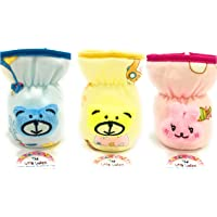 THE LITTLE LOOKERS® Soft Plush Stretchable Baby Feeding Bottle Cover with Easy to Hold Strap   Suitable for 60ml   Cute Animated Overall Print Pack of 3 (Pink, Yellow, Blue)