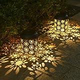 Tomshin+ 2 Pack Solar Lantern Light Outdoor Hanging Garden Lights Metal Lamp Courtyard Decorations for Patio Yard,Porch,Lawn,