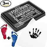 Baby Fuß- oder Hand-Abdruckset Set in 3 Farben | sichere und wiederverwendbare Stempelkissen | leicht von der Haut abwaschbar (schwarz + rot + blau)
