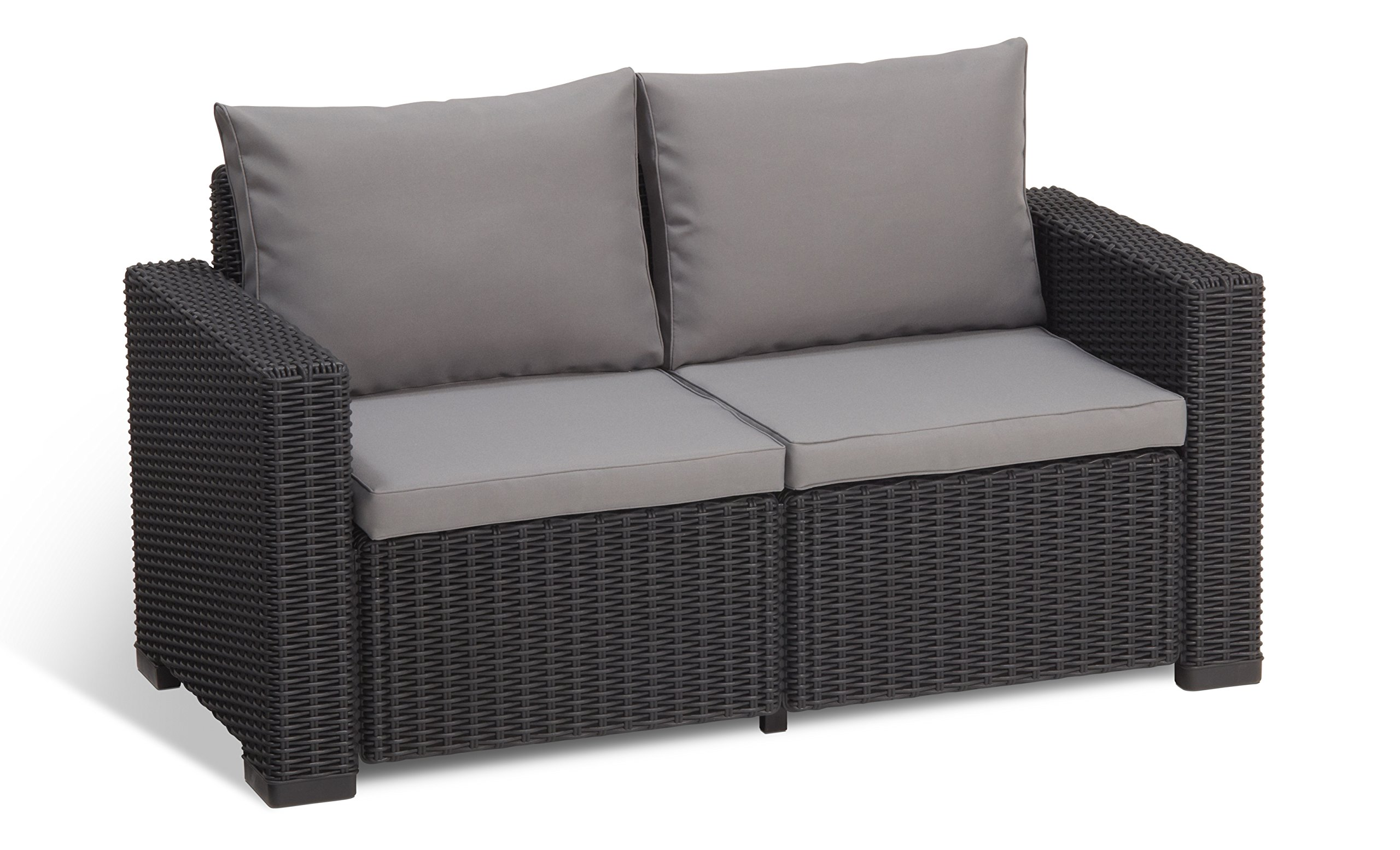 2 Seater Rattan Sofa Bench Chair Cushioned Indoor Outdoor Pool