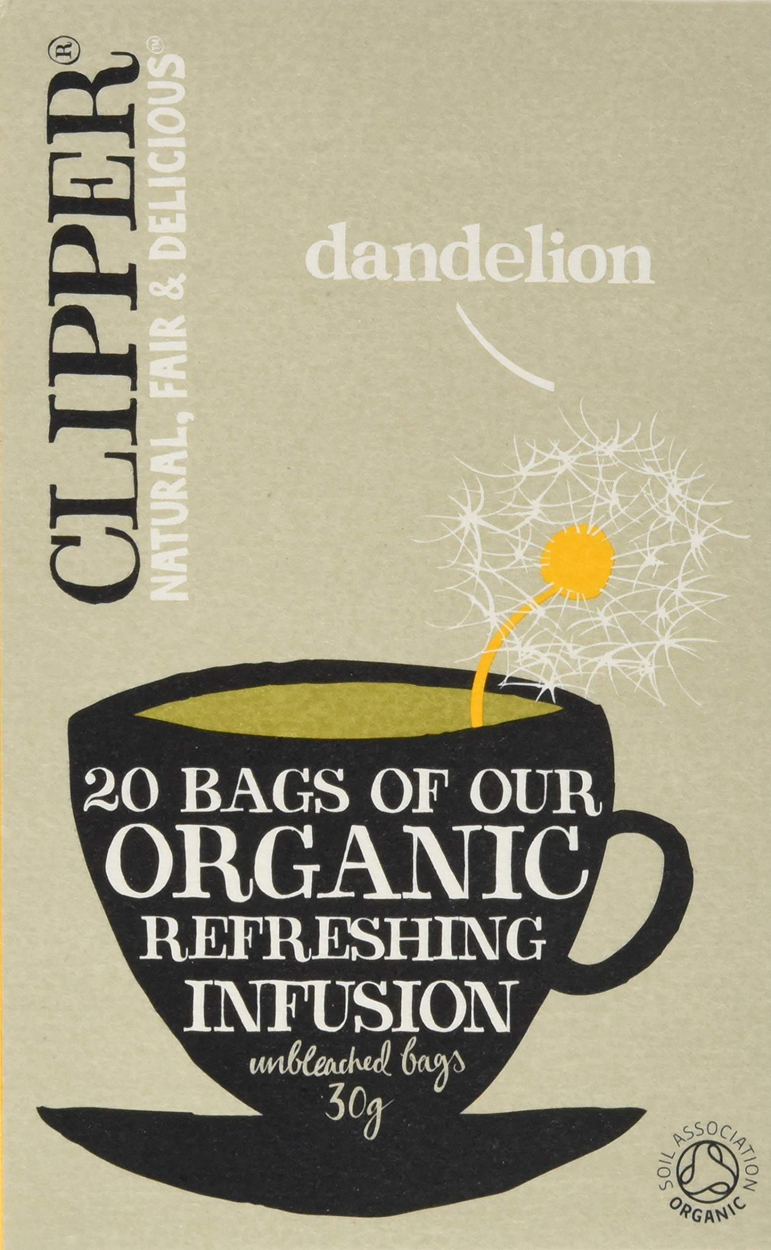 Clipper organic dandelion tea bundle (soil association) (infusions) (6 packs of 20 bags) (120 bags) (a floral tea with aromas of dandelion) (brews in 2-5 minutes)
