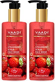 Vaadi Herbals Pack Of 2 Strawberry Scrub Face Wash With Mulberry Extract, 250 ml (Pack of 2)