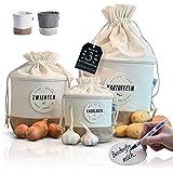 Glückstoff® Opbergdoos, set van 3 stuks, van stof [duurzaam] aardappel, uien, knoflookpot, keukendecoratie, badkamer, voorraa