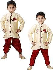 JBN Creation Boys Cotton Silk Kurta and Pyjama Set (Gold_VASBCO016)