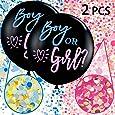 Annhao Reveal di Genere Palloncino, 2 Pezzi Baby Shower Balloon Boy or Girl Reveal Party Palloncino da 36 Pollici(Circa 92 cm) con Rosa Blu coriandoli per Ragazzo o Ragazza Decorazione Party