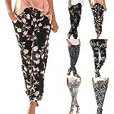 riou Pantalones Mujer Cintura Alta Boho Verano con Estampado Pants de harén, Pantalones de Playa Casuales fluidos Hippie Danz