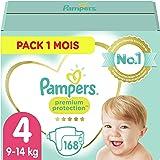 Pampers Couches Premium Protection Taille 4 (9-14kg) notre N°1 pour la protection des peaux sensibles, 168 Couches (Pack 1 Mo