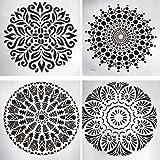 Bonzerdigs 4 Pcs Mixed Mandala Pattern Plastic Square Shape Stencils for Painting Craft/Art Journal/Decoupage/Mixed Media/Scr