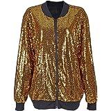 Ladies Womens Classic MA1 Pilot Brave Soul Glitter Sequin Zip Up Biker Bomber Jacket Mod Coat Tops UK Plus Size 8-16