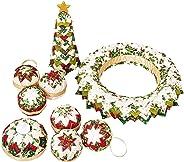 Weihnachts-Deko-Set Patchwork handmade Christbaumkugel Tannenbaum Tannenzapfen Adventskranz/Türkranz