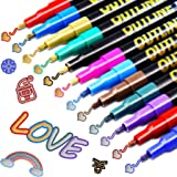 Los Bolígrafos de Contorno,VEERUN 12 Colores Brillantes Fluorescentes Bolígrafo para Deslumbrar, para Escribir Tarjetas de Re