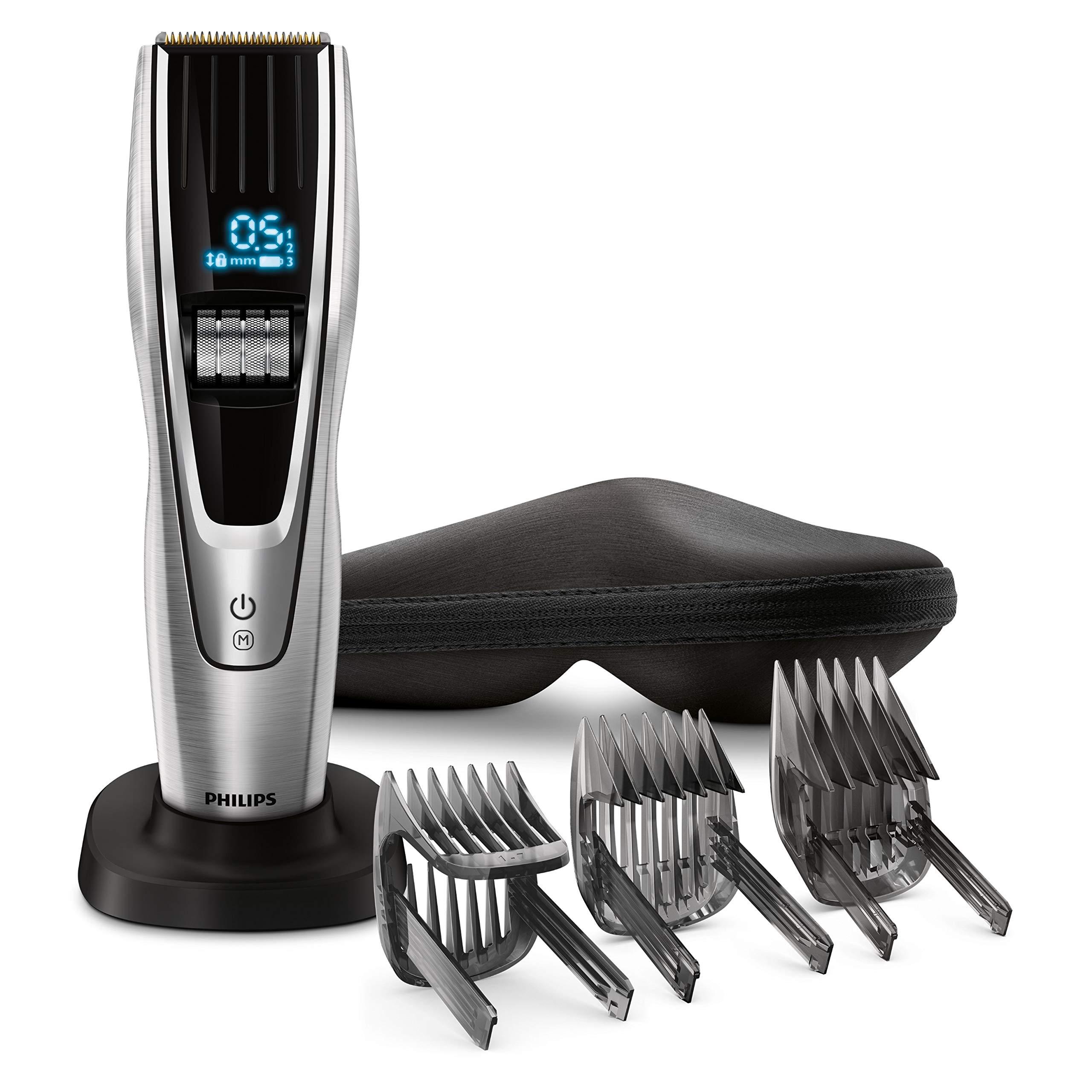 Philips Serie 9000 HC9490/15 – CortaPelos, Ajuste Fino cada 0.1 mm para Estilo Deseado, 9 Memorias Soporte de Carga y Funda, 180 min de Uso