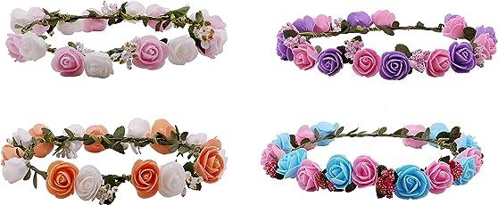 Sanjog Premium Flower Gracious Tiara/Crown Head Wrap For Girls Women Pack Of 4