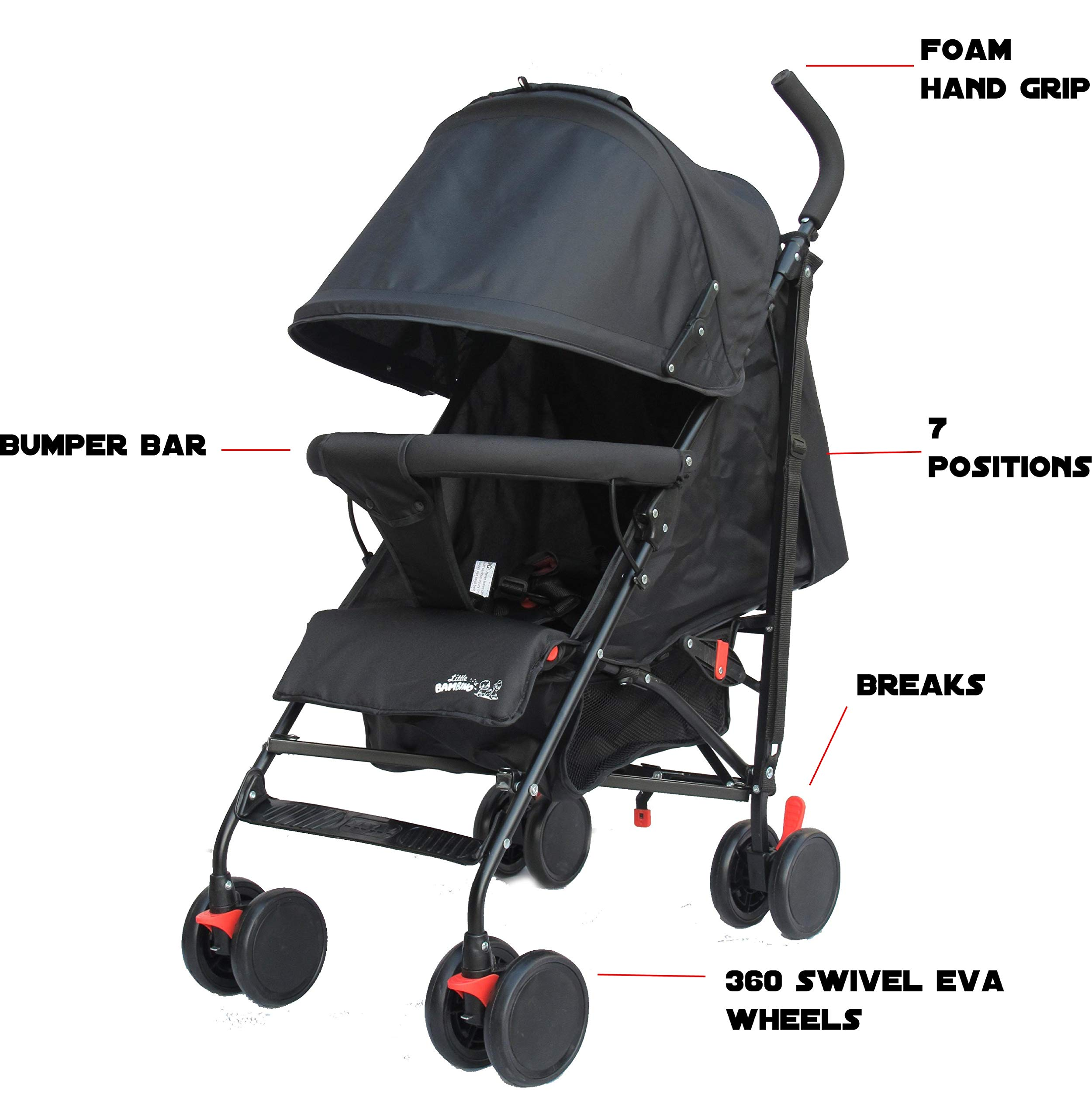Stroller for Kids Lightweight Buggy Easy Fold Travel Stroller Buggy Foldable for Airplane Travel Cabin Size(Black) Little Bambino ✨Extendable upf 50+ sun canopy and built-in sun visor ✨EASY USAGE - One-hand foldable buggy makes taking your baby for travels or walks a simple pleasure. It could stand on its own so you could take care of your baby with less things to worry about. ✨ADJUSTABLE BACKREST - Travel stroller backrest can be adjusted. Suitable for children from 0 to 36 months 5