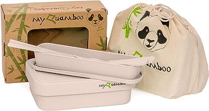 myQuamboo Lunchbox aus Bambusfasern inkl. Besteckset & Lunchbag   Bento Lunchbox mit Trennwand BPA frei   Pausenbrot- und Snackbox für Arbeit, Schule, zu Hause oder unterwegs   mikrowellenfest