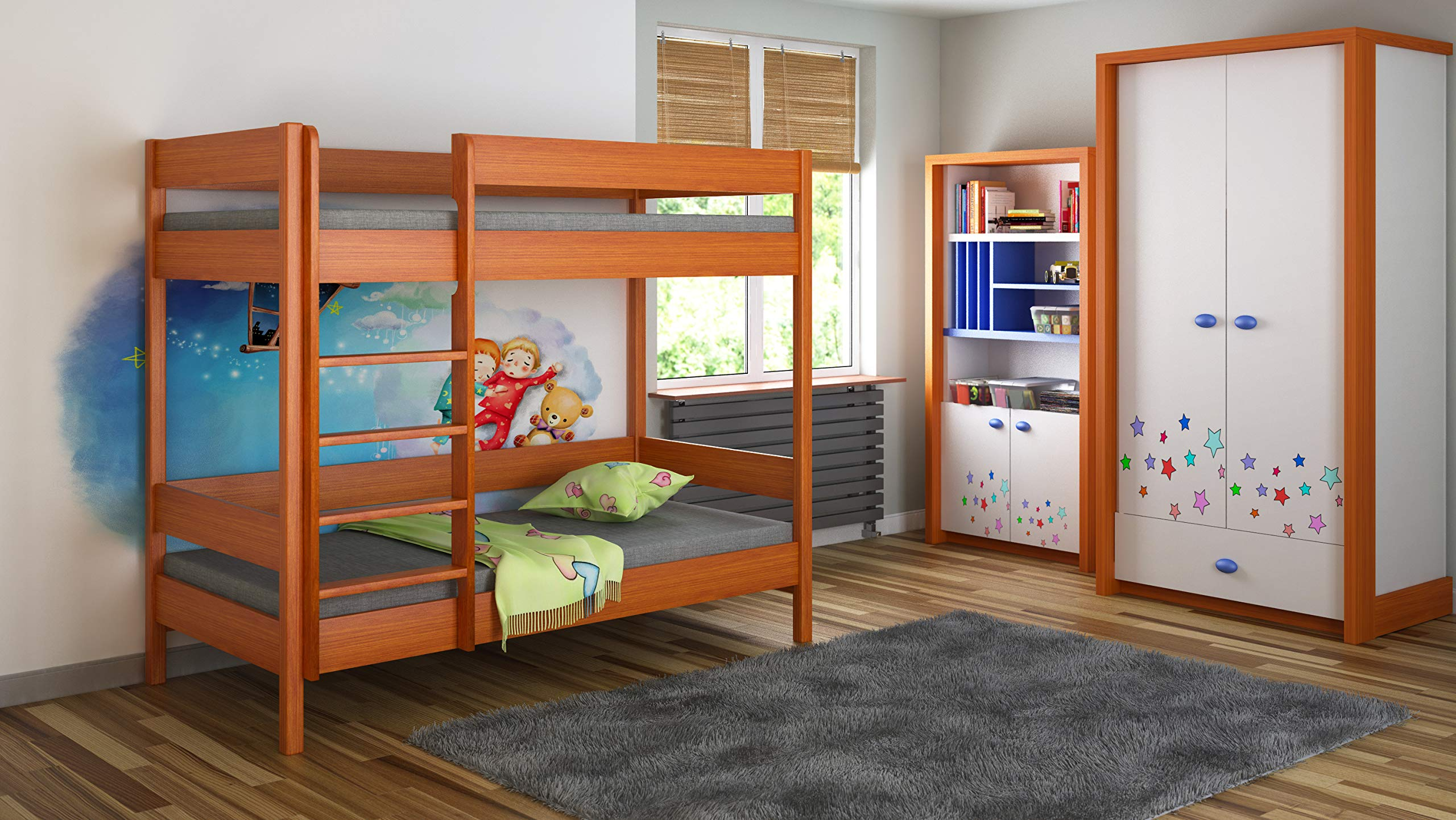Children's Beds Home Bunk Beds - Kids Children Juniors Single with 2 Foam Mattress but No Drawers (200x90, Alder) Children's Beds Home Bed with barriers internal dimensions: 140x70x160, 160x80x160, 180x80x160, 180x90x160, 200x90x160. External dimensions: 147x77x160, 167x87x160, 187x87x160, 187x97x160, 207x97x160 Bunk Bed with access from the - Front (D-1), Universal bed entrance - left or right side. 2