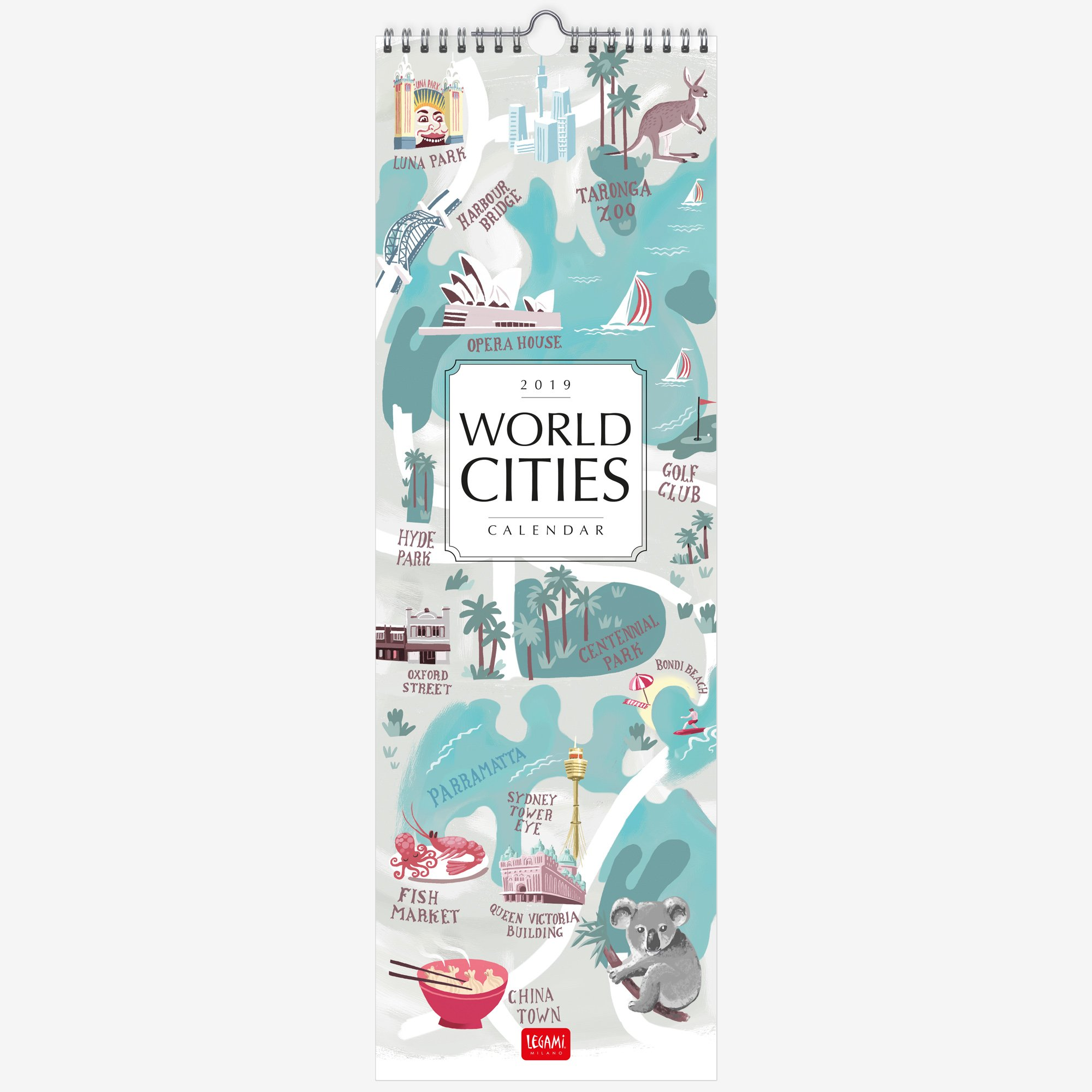 Calendario Legami.Legami Calendario Da Parete 2019 Dimensioni 16 X 49 Cm World Cities Agenda Perfetta