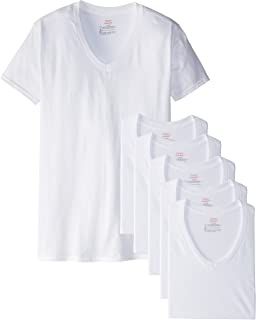 Hanes Mens 6 Pack Classics V-Neck T-Shirt Value Pack White