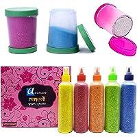 Ascension Rangoli kit 5 Multicolour Glitter Rangoli Bottles Powder 80g Each with 3 Fillers Rangoli Ceramic Colours…