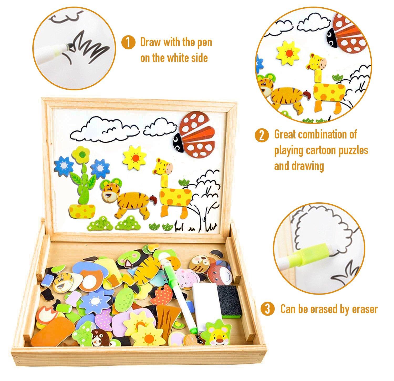 COOLJOY Puzzle Magnetico Legno, Giocattolo di Legno Bambini con Double Face Disegno cavalletto Lavagna, apprendimento educativo per Bambini (Nmodello Animale) 4 spesavip