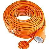 Electraline 1357 01357 Verlengsnoer voor de tuin, 30 m, witte kunststof kabel, IP20, verlengkabel met kinderbeveiliging, Euro