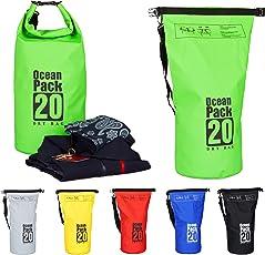 Relaxdays Ocean Pack, 20L, Wasserdicht, Packsack, Leichter Dry Bag, Trockentasche, Segeln, Ski, Snowboarden, Farbe