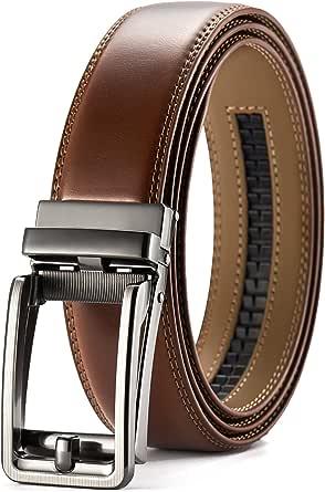 CHAOREN Belt Ratchet Leather Automatic Belt for Men Clothing 35 mm Adjustable Size - Brown - Large