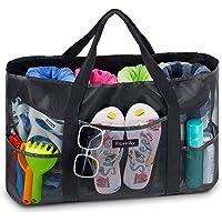 Flovesky Groß Mesh Strandtasche, Wasserspielzeug Aufbewahrungstasche, Beach Bag Einkaufstaschen für Strand Urlaub Reise