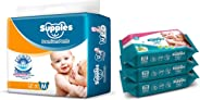 Supples Baby Pants Diapers, Medium, 72 Count with Wet Wipes (Pack of 3)