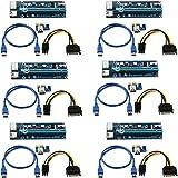 (6 Pack) 6-pin PCI-E PCI Express Riser - VER 006C - 1X à 16X PCIE Carte d'adaptateur USB 3.0 - avec câble d'extension USB - Carte Graphique GPU Crypto Currency Mining