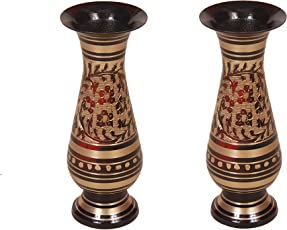 Eudora Brass Flower Vases (Black, Red, Golden) - Set of 2