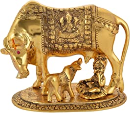 DreamKraft Metal Gold Elegant Kamdhenu cow and calf With Krishna showpiece idol For Home Decor and Gift