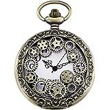 ساعة جيب Morfong Vintage Gear Hollow Quartz Fob Watch Steampunk للرجال والنساء