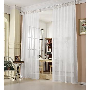 WOLTU® VH5864ws, Gardinen Transparent Mit Schlaufen Leinen Landhaus Optik,  Schlaufenschal Vorhang Stores Voile
