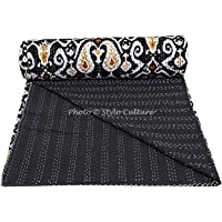 Stylo Culture Cotton Bedspread Kantha Bedcover Double Bed Cover Black Ikat Print Hand Stitched Embroidered Ethnic Quilt Coverlet