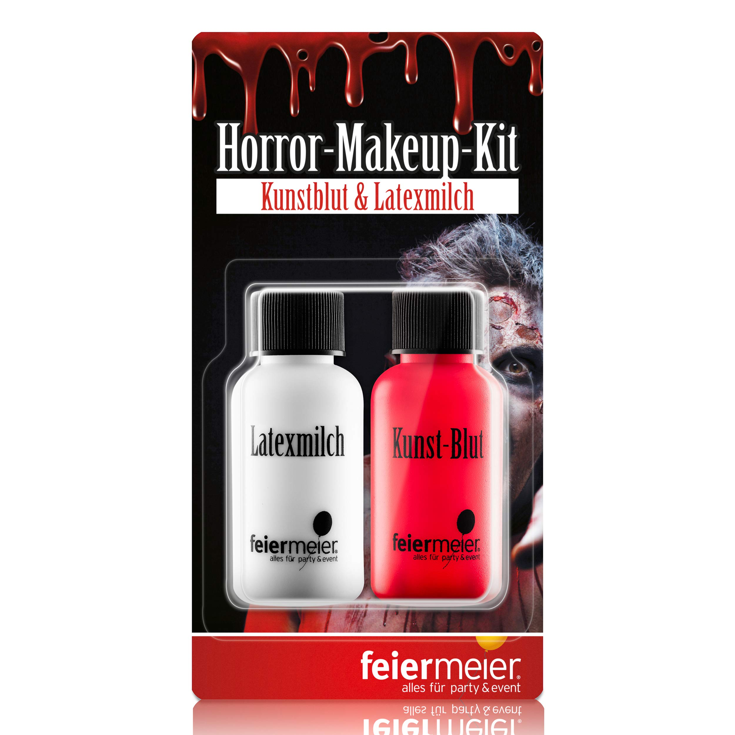 feiermeier® Horror-Makeup-Set Best. aus Kunst-Blut 29,5ml & Latexmilch Horrorhaut 29,5ml Wunde, Zombie, Halloween…