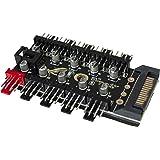 GiDan PWM - Controlador de ventilador, hub/divisor para ventiladores de 4 pines y 3 pines, 10 ventiladores, control de veloci