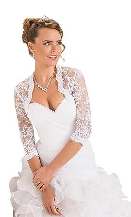 Women Luxury Wedding Top Lace Bridal Bolero Shrug Jacket: Amazon ...