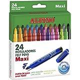 Rotuladores Alpino Maxi para Niños - Rotuladores Gruesos - Estuche de 24 colores con Punta Gruesa de 6mm - Tinta Lavable - Pe