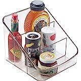 iDesign boîte de rangement à 3 compartiments, grand bac plastique pour aliments emballés ou épices, bac alimentaire, transpar