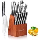 Ensembles de Couteaux de Cuisine, Cookit 15 Pièces Set de Couteaux Cuisine Professionnels en Acier Inoxydable avec Ciseaux Ai